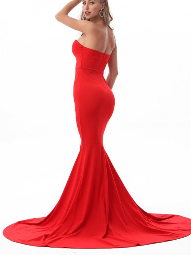 Strapless Maxi Dress with Fishtail Hem and Split Front