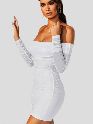 Foldover Off Shoulder Ruched Mini Dress with Long Sleeve