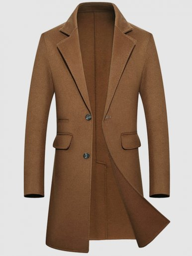 Men's Single Breasted Wool Trench Coat