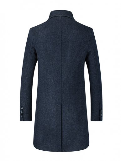 Mid Length Mens Wool Coat with Embellished