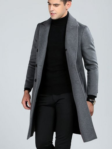 Double Breasted Slim Wool Coat For Men