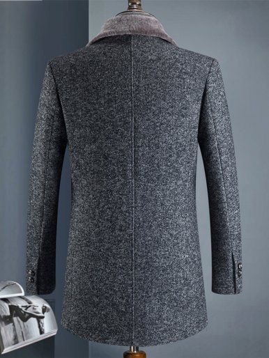 Wool Button Up Men's Thick Overcoat