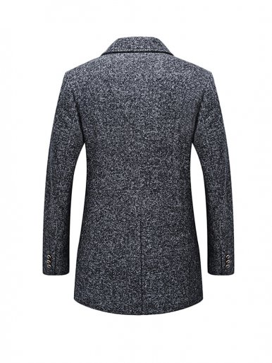 Thick Men Slim Tweed Coat with Detachable Scarf