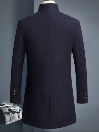 Thick Stand Collar Wool Men's Overcoat