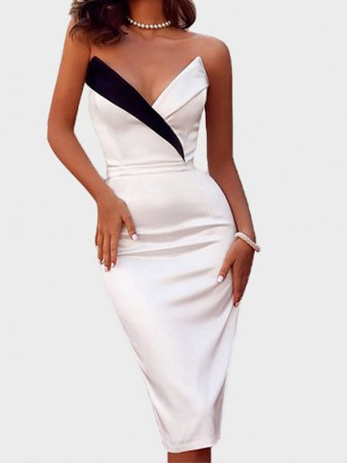Bandeau Midi Dress with Contrast Panel