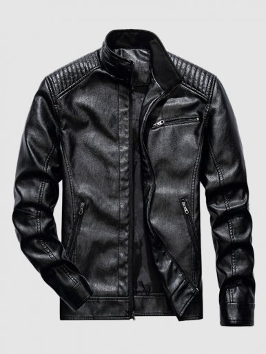 Men's PU Leather Slim Casual Motorcycle Jackets