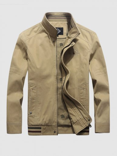 Stand Up Collar Utility Jacket For Men