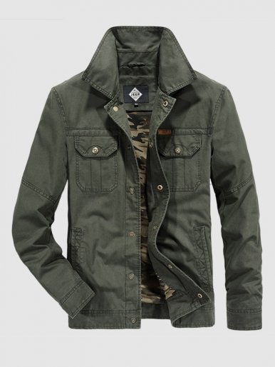 Camo Lined Men's Utility Jacket