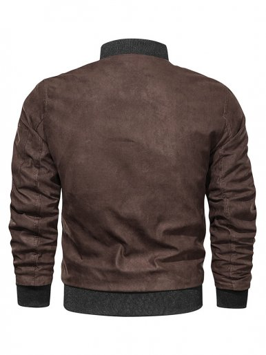Men's Bomber Jacket with Contrast Ribbed Trims