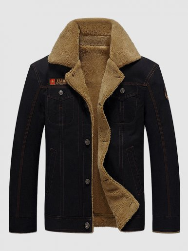 Men's Teddy Lined Jacket with Patch Detail