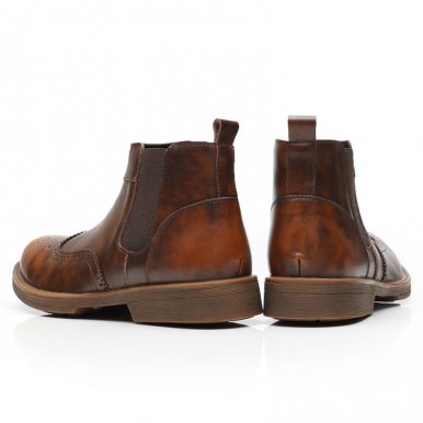 Leather Brogue Male Chelsea Boots
