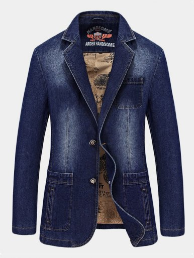 Slim Denim Suit Mens Jacket