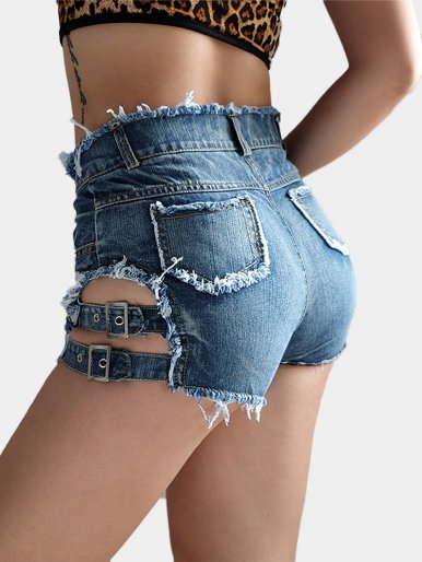 Thigh with Belts Women Burrs Denim Shorts