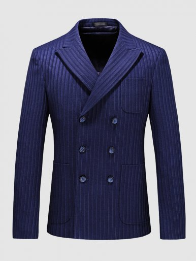 Men's Blue Blazer Stitch Detail Stripe Suit Jacket