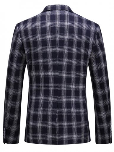 Navy Check Men's Casual Suit Jacket Blazer