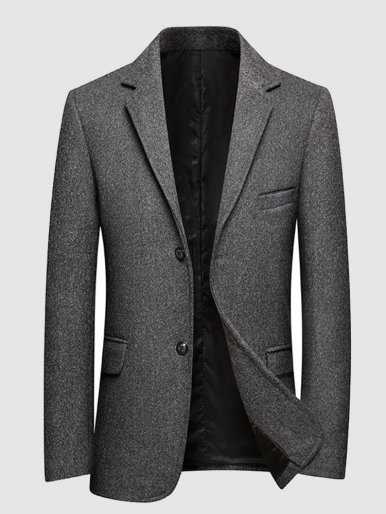 Wool Mix Men Blazer Dark Grey Suit Jacket