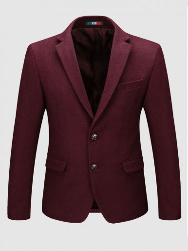 Slim Fit Men Suit Jacket Wool Mix Blazer