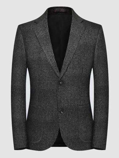 Men's Texture Stripe Blazer Stretch Suit Jacket