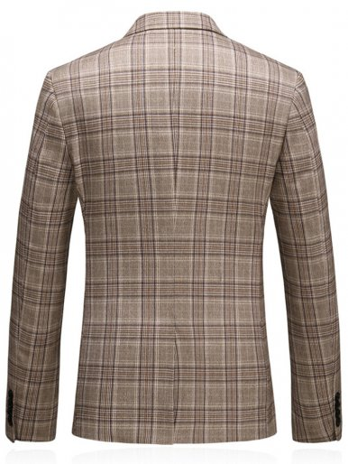 Plus Checked Blazer Men's Suit Jacket