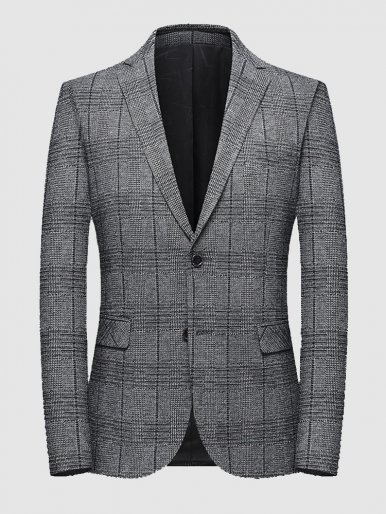 Two Button Men's Blazer Smart Casual Check Suit Jacket