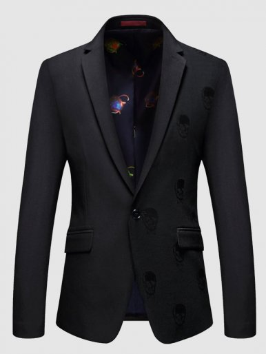 Slim Fit Jacquard Men Business Daily Blazer Suit Jacket