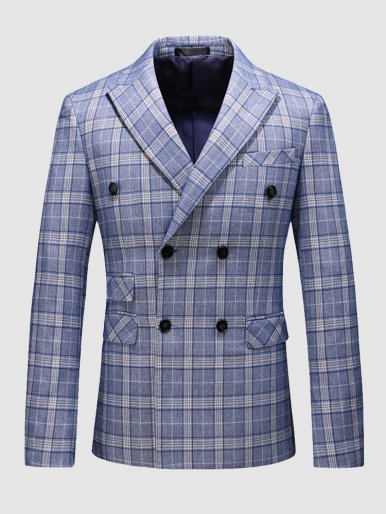 Gentleman Suit Jacket Blue Check Men's Blazer