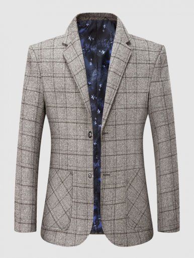 Notched Lapel Check Stylish Blazer Dress Suit For Men