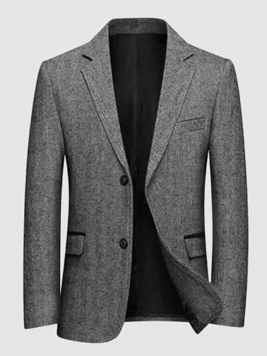 Business Men Suit Jacket Herringbone Blazer