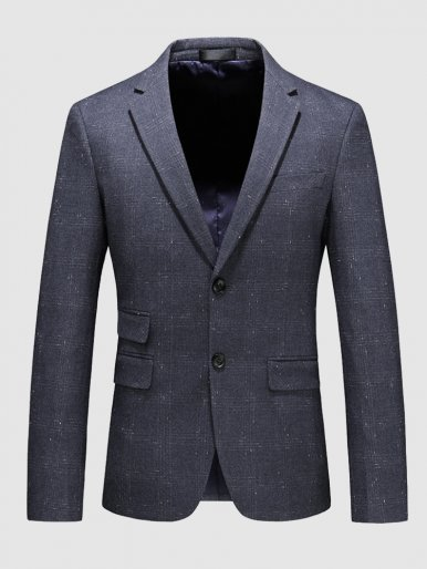 Men's Blazer Check Single Breasted Casual Suit Jacket