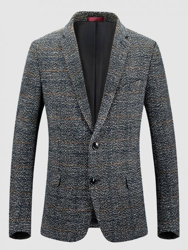 Men's Business Check Blazer Wool Blend Suit Jacket