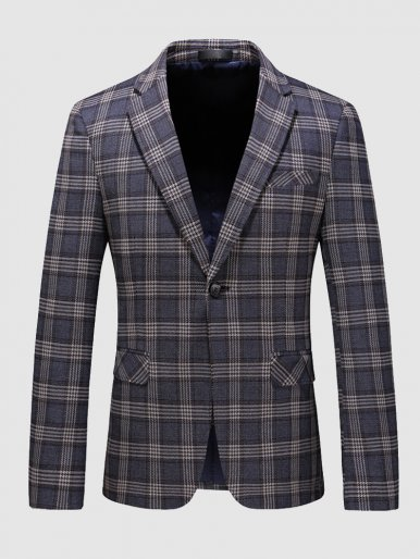 Slim Blazer Men's Check Suit Jacket