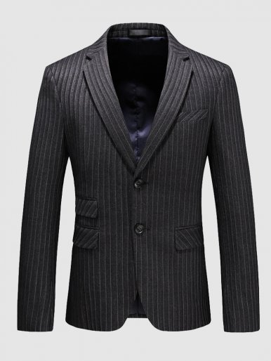Stripe Blazer Men's Business Suit Jacket