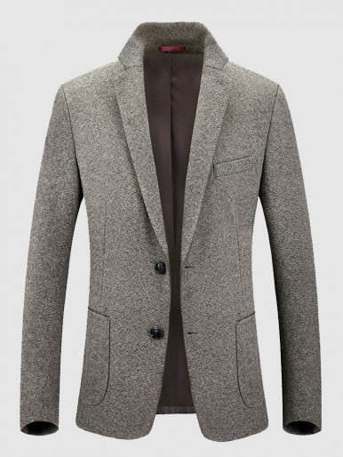 Smart Casual Men's Herringbone Blazer Dress Suit Jacket