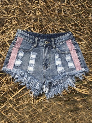 Distressed Denim Shorts with Side Glitter Tape