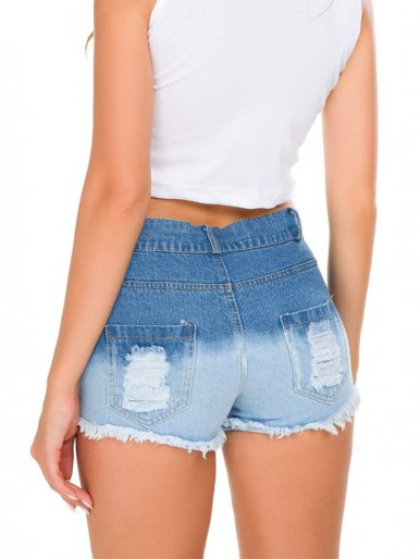 Two Tone Denim Shorts with Heavy Rips