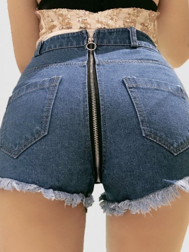 Button Front Distressed Denim Shorts with Zip Back