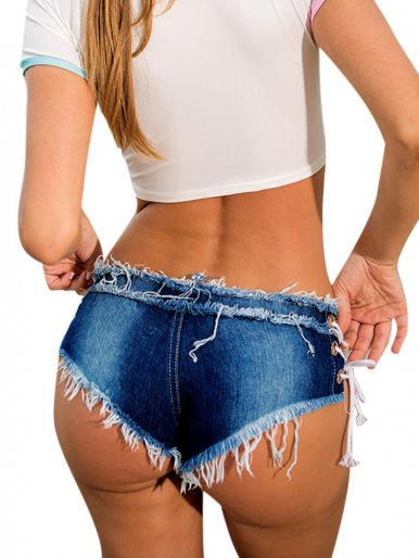 Low Waist Denim Shorts with Lace-up Side