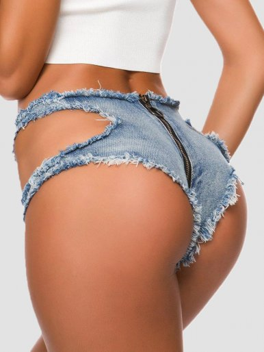 Low Waist Zipper Distressed Denim Shorts with Cut Out