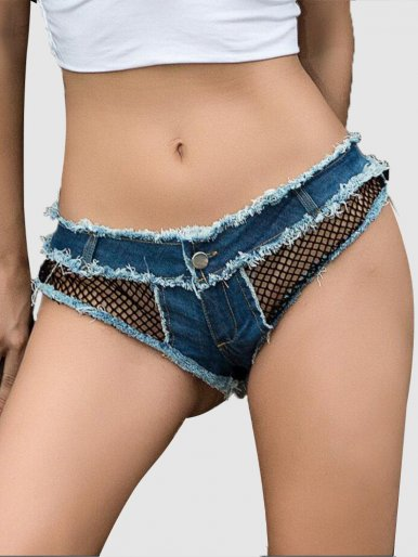 Triangle Denim Shorts with Fishnet Detail