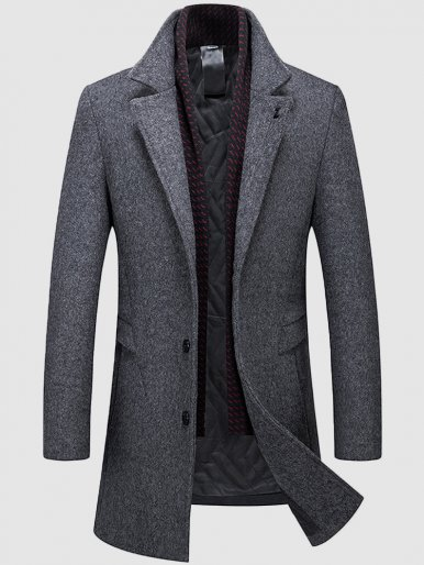 Detachable Scarf Thick Lined Men's Wool Coat