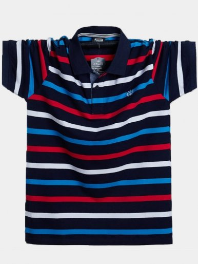 Plus Size Striped Short Sleeve Men's Polo Shirts