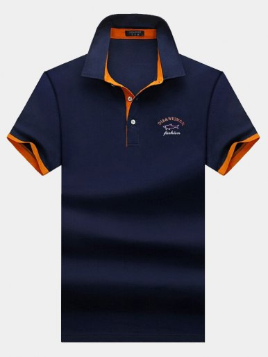 Short Sleeve Cotton Men Polo Shirt with Contrast Cuff