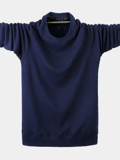Winter Thick Cotton Solid Color Men's T-Shirts