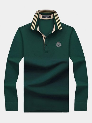 Long Sleeve Men's Polo Shirt with Contrast Tipping