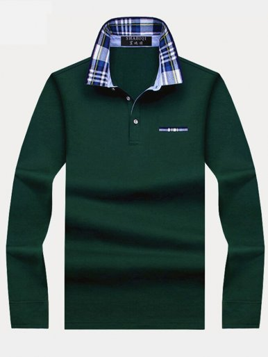 Plus Size Solid Long Sleeve Slim Men's Polo Shirts