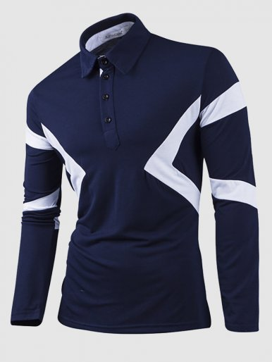 Polo Shirt with Contrast Panel