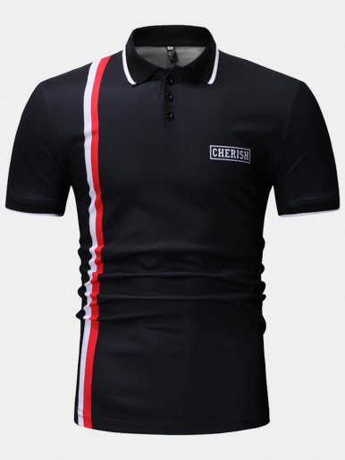Tipped Polo Shirt with Vertical Colour Block