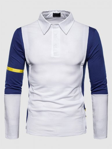 Cut and Sew Polo Shirt with Contrast Taping