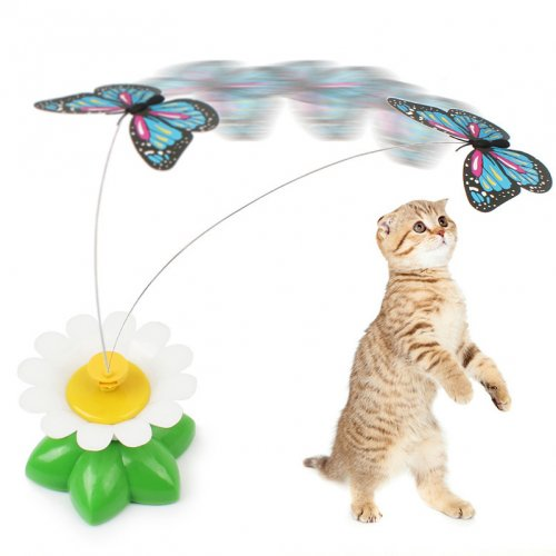 OneBling Cat Toys Automatic Cat Butterfly Electric Rotating Colorful Bird Creative Fun Games for Pet