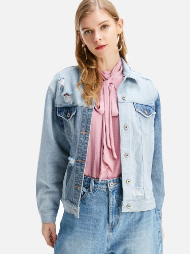 OneBling Distressed Two Tone Denim Jacket